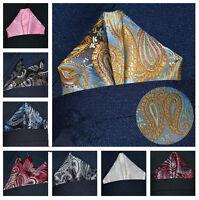 Paisley Floral Men Silk Satin Pocket Square Hanky Wedding Party Handkerchief