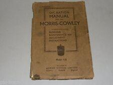 Instrucciones Servicio Manual Owner's Operación Manual Morris Cowley 1933
