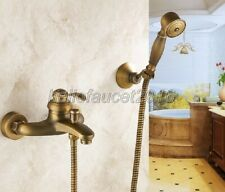 Wall Mount Antique Brass Bathroom Shower Bath Tub Faucet With Handheld Shower