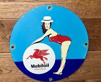 "Vintage Mobiloil Porcelain Sign 12"" Gas And Oil"