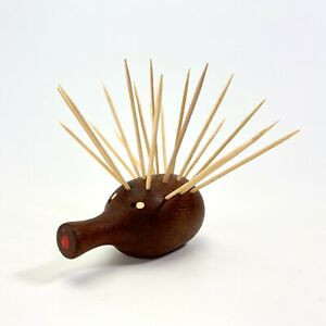 Vtg MCM Danish Design Teak Hedgehog Porcupine Toothpick Holder Novelty Barware