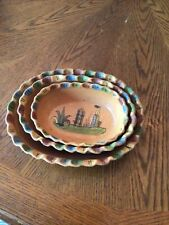 Set Of 3 Nesting Oval Handmade Terra-cotta Pottery Bowls Made In Mexico