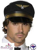 Pilots Cap Hat Aviator Captain Airline Black Flying Air Force