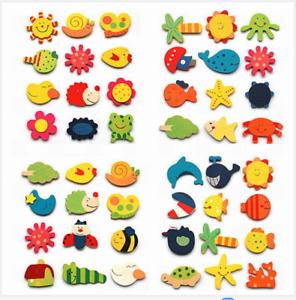 12pcs Colorful Wooden Animal Cartoon Fridge Magnet/ Children Baby Education Toy