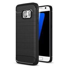 Samsung Galaxy S7 TPU Case Carbon Fiber Optik Brushed Motiv Schutz Hülle Schwarz