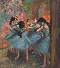 APRÈS EDGAR DEGAS Danseuses en bleu peinture à l'huile c1950