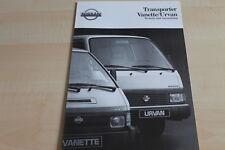 109553) Nissan Urvan + Vanette - tech. Daten & Ausstattungen - Prospekt 02/1992