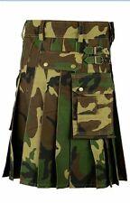 New Scottish Mens Army Camo Kilt Tactical Custom Camping Hiking Kilts.