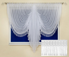 WHITE VOILE NET CURTAINS WITH GEORGUS LACE LARGE AND SMALL WINDOW  SALE