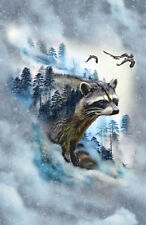 Hoffman Call of the Wild RACCOON FOG Scenic Forest Fabric 28 In Panel + Pattern