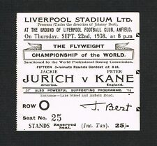 1938 RARE World Championship Jackie Jurich v Peter Kane boxing ticket w/pictures