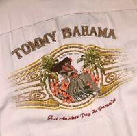 Tommy Bahama Cream Silk Embroidered Aloha Shirt Size Large Men's