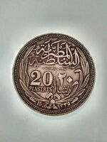 1916 Egypt Silver Lucky Antique Coin 20 Piatres Sultan Hussein Kamel *VERY RARE*