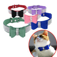 Cute Rhinestone Diamante Dog Collar Suede Leather Bowknot for Puppy Cat Girl Pet