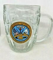 Department of the Army USA Dimpled Glass Beer Stein Mug Made in USA 20oz