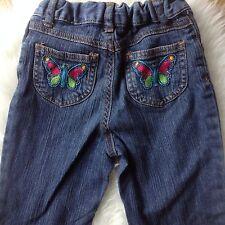 Carters 5T Denim Jeans Sz 5T Toddler Girls Blue Jean Embroidered Butterflies