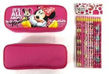 Disney Minnie Mouse Pencil Case Pencil Pouch with 12 Pencils (Dark Pink)