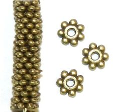 MBL943p Antiqued Bronze 4mm Round Dotted Daisy Flower Rondelle Metal Beads 100pc