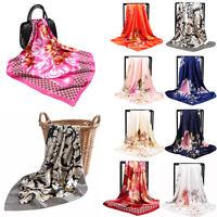 Fashion Women's Printed Satin Silk Square Scarf Neck Wrap Head Shawl Scarves