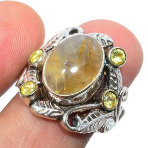 Golden Rutilated Quartz & Citrine 925 Sterling Silver Boho Ring s.8 F2661