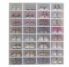 12 Clear Shoe Boxes Set Foldable Storage Plastic Home Organizer Rack Stack Shelf