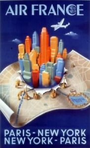 Affiche Air France Paris-New York-Paris
