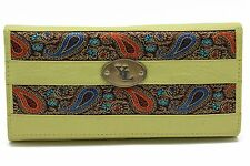Women's Cow Leather Clutch Wallet Embroidery Patch YL Black,Red,Lime Purse