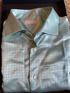STEFANO RICCI 100% Silk Dress Shirt 80% OFF RETAIL New Free Shipping XL Green
