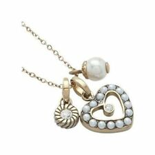 NEW-FOSSIL GOLD TONE HEART+PEARL+CRYSTAL CHARM PENDANT CHAIN NECKLACE-JF87061040