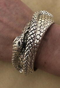 Sterling Snake Cuff with Crystal Golden Eye