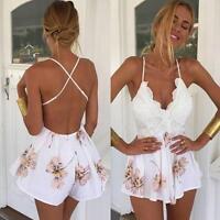 UK Sexy Women Celeb Rompers Playsuit Summer Jumpsuit Beach Mini Dress Sleeveless