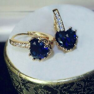 Elegant sim diamonds and blue sapphire heart hoop, 18k gold GF Earrings, Boxed
