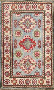 Vegetable Dye LIGHT BLUE Super Kazak Oriental Area Rug Hand-knotted Tribal 2'x3'
