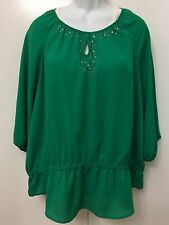 "EXC Chicos 3 XL 16 18 green 50""CH Boho keyhole 3/4 long sleeve shirt Plus blouse"