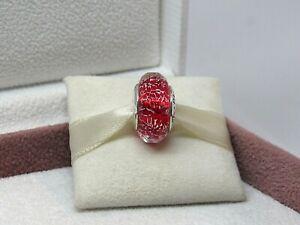 New Pandora w/ Box Red Shimer Murano Glass NWT Bead Charm 791980