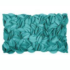 Edles Kissen Dekokissen Filzkissen mit Blumen Blätter Filzstoff Türkis 30x50 cm