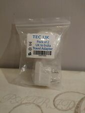 2 X UK to India Travel Adapter, 3 Pin Prong Plugs for Visitors from UK.