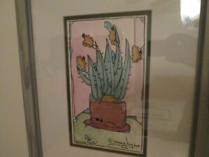 """Art """"Lisa's Cacti"""" by Nancy Lynn Signed Original Water Sketch Double Matted '93"""