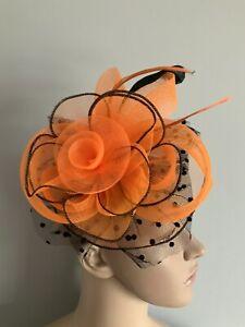 New Orange Black Spotted Fascinator Clip Wedding ladies Race Day accessories