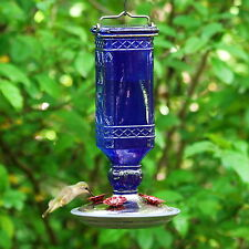 Hummingbird Feeder 16 OZ Perky-Pet Cobalt Blue Antique Glass Bottle Garden Decor