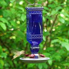 Hummingbird Feeder 16 OZ Perky-Pet Cobalt Blue Antique Glass Bottle Garden Decor