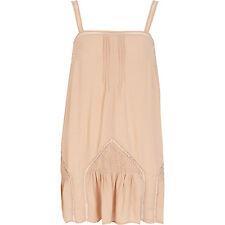 River Island Light Pink Drop Waist Linen Boho Festival Dress Top BNWT UK 10 12