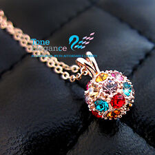 18k rose gold gf ladies solid crystal ball Necklace made with swarovski