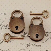 (Lot of 2 pcs)  Vintage Style Mini Small Padlocks With Keys