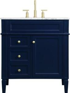BATHROOM VANITY SINK CONTEMPORARY SINGLE BRUSHED GOLD BLUE SOLID WOOD