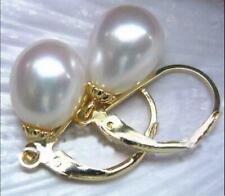 10-12mm AAA South Sea White Pearl Earrings 14k Gold