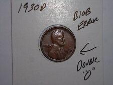 1930D LINCOLN CENT BLOB ERROR ,DOUBLE 0 ERROR 1930-D WHEAT CENT LOT #1