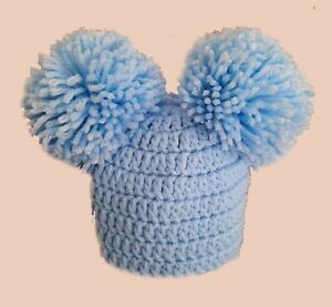 BABY BOYS BLUE POMPOM HAT, WINTER BEANIE,gift for new baby shower, warm chunky