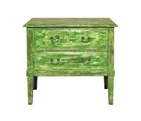 Distressed Light Green Lacquer Two Dresser Console Table Cabinet cs3642
