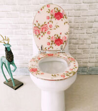 VINTAGE TOILET SEAT RESIN SOFT CLOSE TOILET SILVER HINGES BATHROOM FLOWER NEW